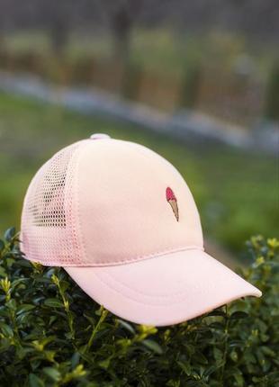 Кепка бейсболка мороженое пудровая розовая коттон победов pobedov