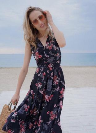 Платье летнее миди с разрезом