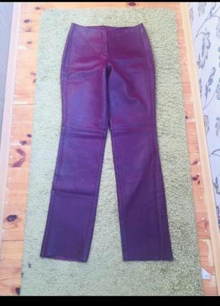 Итальянские кожаные брюки цвет между баклажаном и бордовым