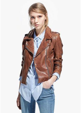 Скидка!новая шикарная кожаная курточка (косуха) дорогого бренда etro milano