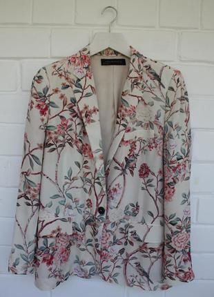 Шикарный пиджак жакет блейзер в цветочный принт zara размер l/40/12.