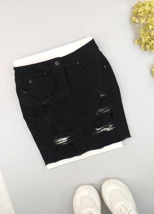 Юбка джинсовая черная с потертостями 6р.