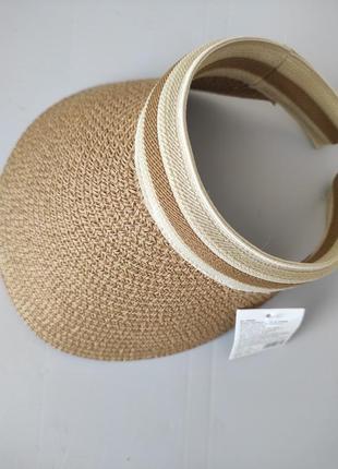 Летняя пляжная шляпа кепка канотье с соломенной бахромой.
