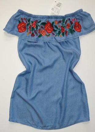 Новое джинсовое синее вышитое платье сарафан 40-42 размер