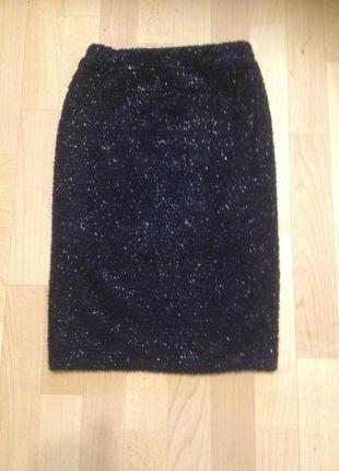 Теплая нарядная юбка-карандаш с люрексом