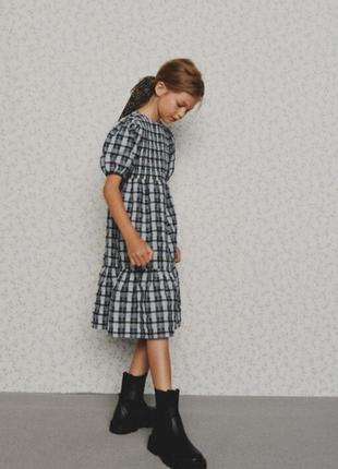 Новое летнее платье миди для девочки літня сукня zara 6 7 8 лет
