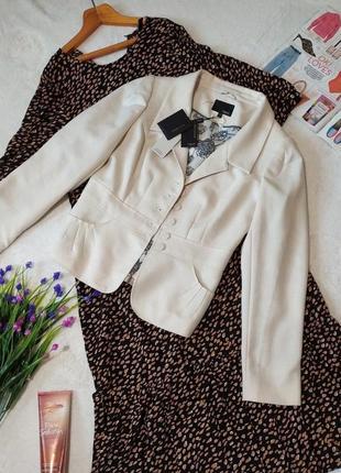 Пиджак светлый молочный 10 размер😍