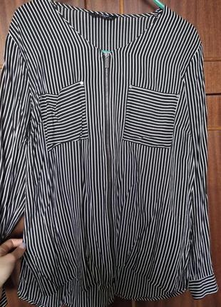 Рубашка/блуза на змейке с карманами в полоску