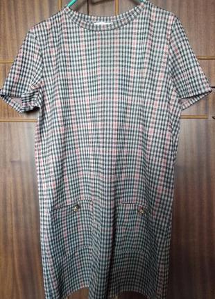 Платье zara/зара в клетку с карманами