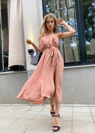 Платье женское летнее миди ниже колена длинное лен с разрезом с поясом