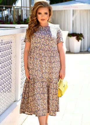 Платье штапель до 66 размера