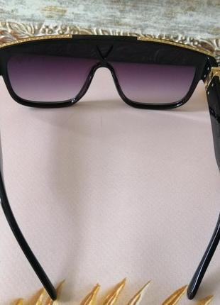 Эксклюзивные чёрные брендовые чёрные солнцезащитные очки маска унисекс5 фото