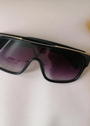 Эксклюзивные чёрные брендовые чёрные солнцезащитные очки маска унисекс3 фото