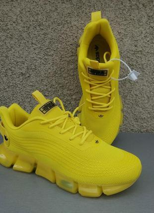 Adidas кроссовки мужские яркие желтые стильные текстиль сетка весна лето