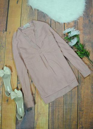 Нежно-розовая рубашка из льна 9039 f&f размер uk6/34 (xs/s) блуза