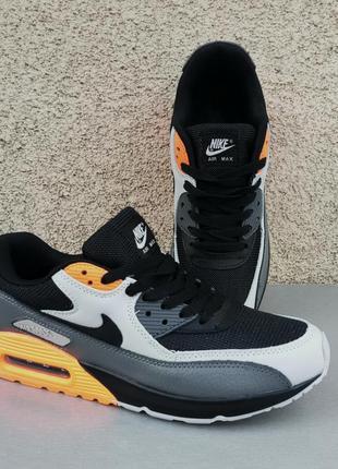 Nike air max кроссовки мужские черно серые с оранжевыми вставками
