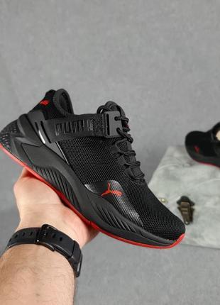 Женские кроссовки puma  чёрные с красным / жіночі кросівки пума чорні з червоним