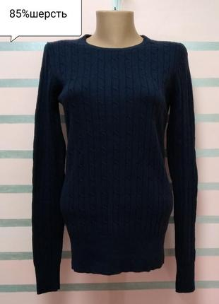 Темно синий шерстяной пуловер gant