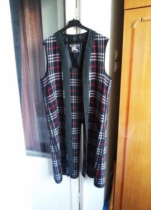 Утепленная шерстяная покладка под пальто в клетку  / 100% шерсть / burberry