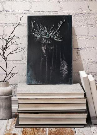 Интерьерная картина 3d портрет девушки в тёмной вуали