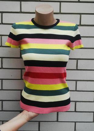 Красивая,трикотажная футболка,кофточка в рубчик,блуза вязаная в разноцветную полоску.zara