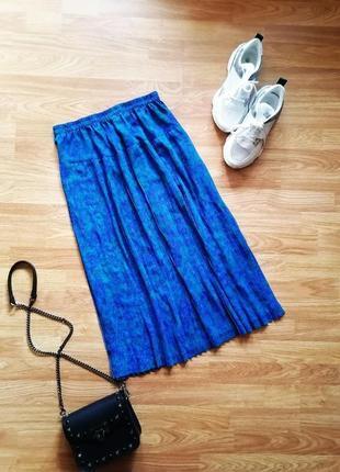 Женская легкая комфортная плиссированная винтажная юбка миди - размер 46