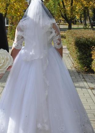 Свадебное платье + фата + обода