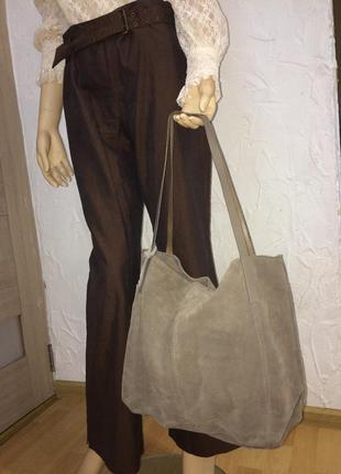 Отличная большая повседневная сумка из натуральной замши