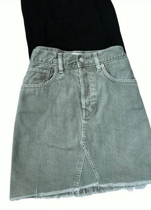 Юбка оливковая, джинс