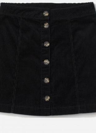 Черная вельветовая мини-юбка на пуговицах