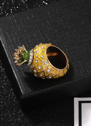Набор колец фрукты ананас лайм массивное объёмное кольцо zara