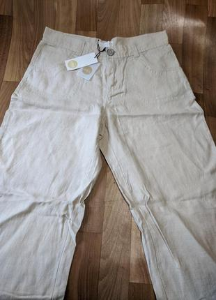 Новые льняные женские брюки штаны unites
