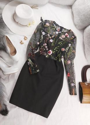 Шикарное стильное вечернее нарядное 85платье с ручной вышевкой