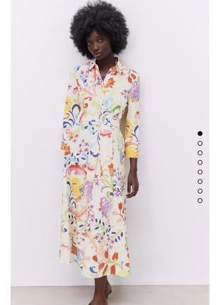 Платье миди с поясом платье макси длинное в цветочный принт рубашка zara оригинал