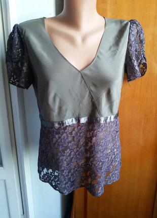Стильная дизайнерская шелковая блуза с кружевом armand ventilo