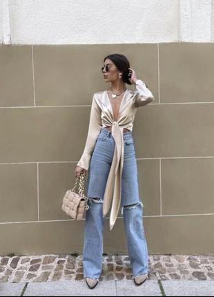 Джинсы zara высокая посадка, широкого кроя палаццо, джинсы рваные zara зара