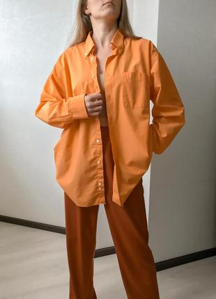 Оранжевая хлопковая объемная рубашка marks&spencer