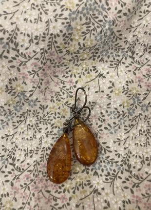 Серёжки натуральный янтарь