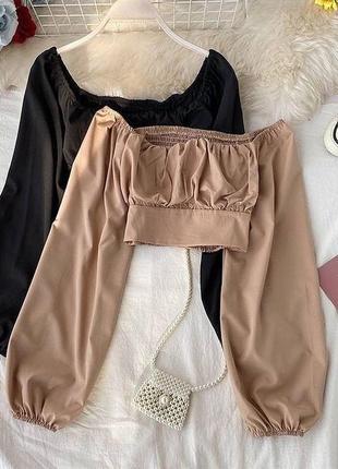 Базовый укорочённый топ,кроп-топ с объемными рукавами,красивая и стильная блузка,топик жатка