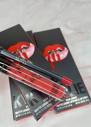 Набір помада та олівець  lip kit від kylie cosmetics у відтінку boss