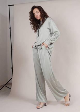 Пижама хаки атлас свободный ночнушка комплект штаны брюки рубашка длинная хлопок