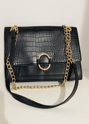 Стильна сумка (чорна під шкіру)