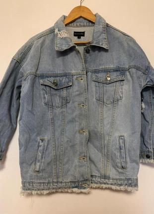 Джинсовка джинсовый крутой пиджак / жакет куртка удлиненная оверсайз