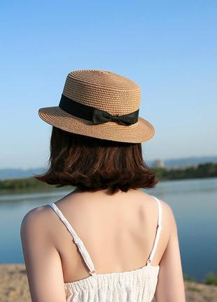 Шляпа шляпка канотье бежевая с лентой и бантом новая качественная