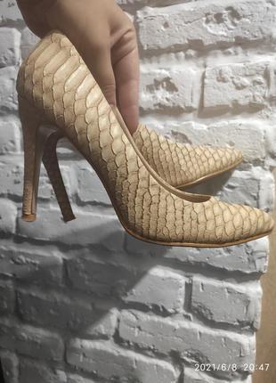 Нарядные бежевые лодочки туфли под змею в идеальном состоянии туфли