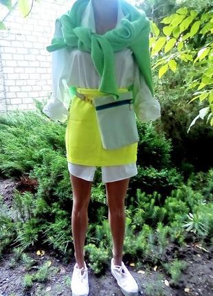 Костюм неоновый лимонный киви юбка  мини жакет пиджак эксклюзив дизайнера
