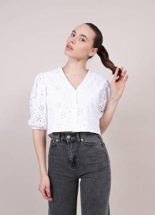 Блузка рубашка с объемными рукавами хлопок летняя белая легкая с кружевом