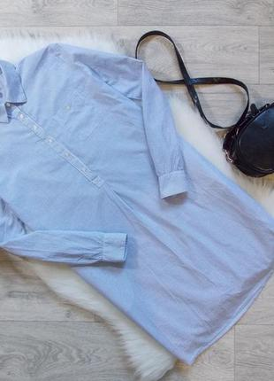 Платье рубашка в полоску с карманами по бокам