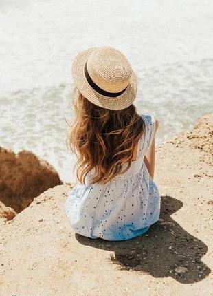 Шляпа шляпка канотье песочная с лентой и бантом новая качественная
