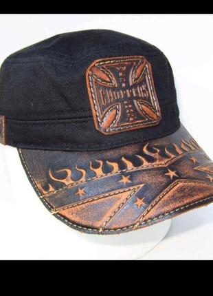 Байкерская кепка немка harley davidson летняя натуральная кожа и хлопок